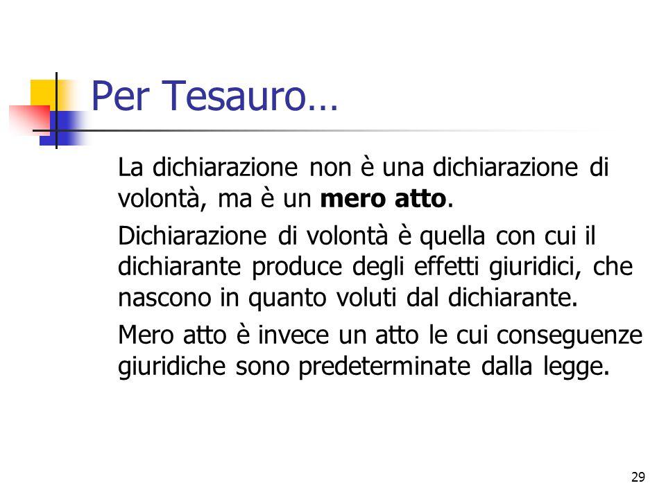 Per Tesauro… La dichiarazione non è una dichiarazione di volontà, ma è un mero atto.