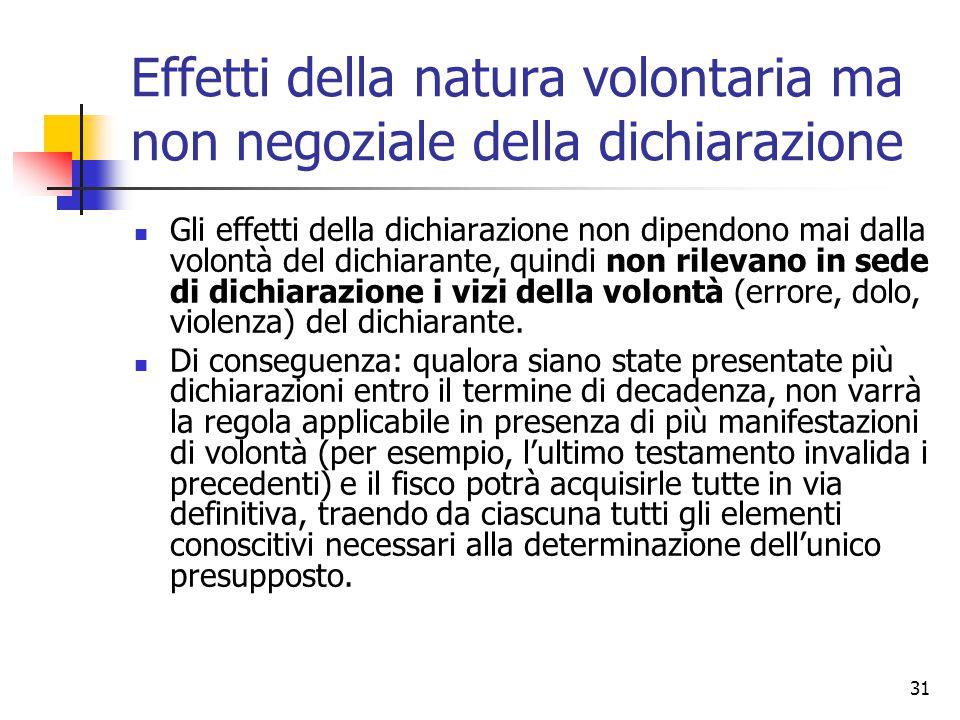 Effetti della natura volontaria ma non negoziale della dichiarazione