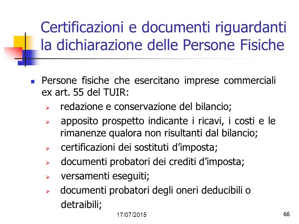 Certificazioni e documenti riguardanti la dichiarazione delle Persone Fisiche
