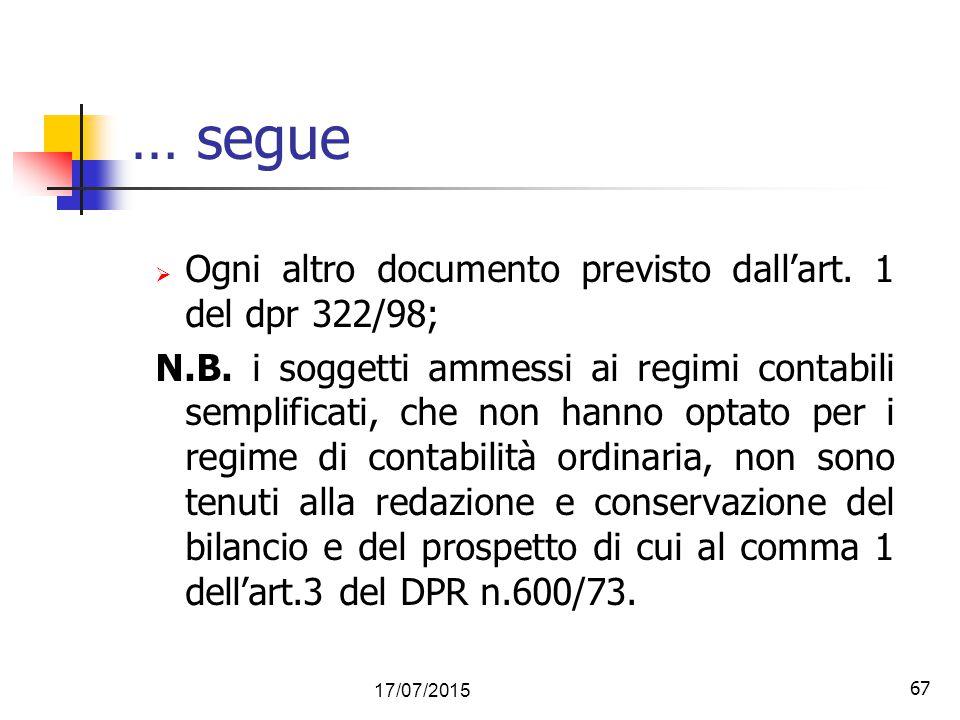 … segue Ogni altro documento previsto dall'art. 1 del dpr 322/98;