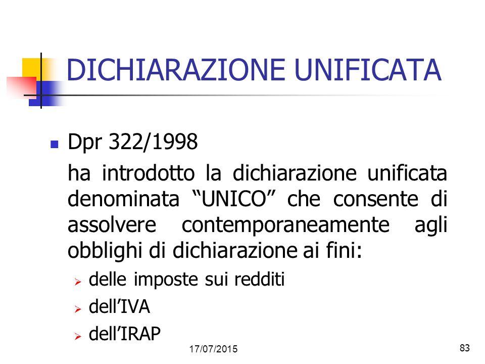 DICHIARAZIONE UNIFICATA