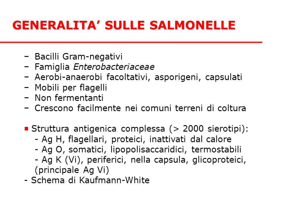 GENERALITA' SULLE SALMONELLE