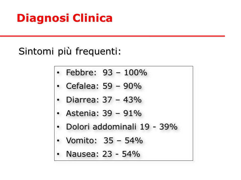Diagnosi Clinica Sintomi più frequenti: Febbre: 93 – 100%
