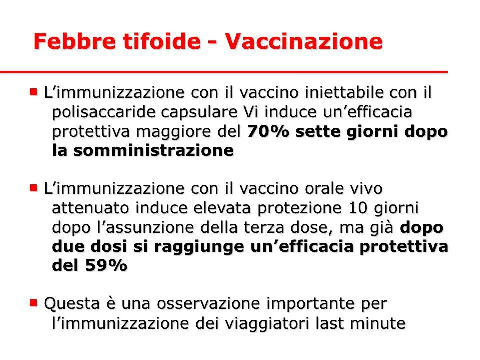 Febbre tifoide - Vaccinazione