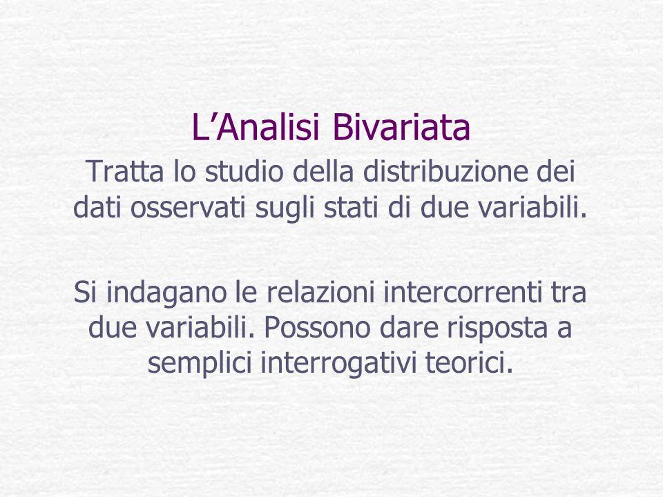 L'Analisi Bivariata Tratta lo studio della distribuzione dei dati osservati sugli stati di due variabili.