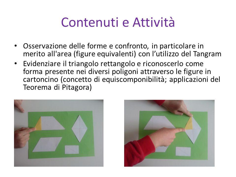 Contenuti e Attività Osservazione delle forme e confronto, in particolare in merito all area (figure equivalenti) con l'utilizzo del Tangram.