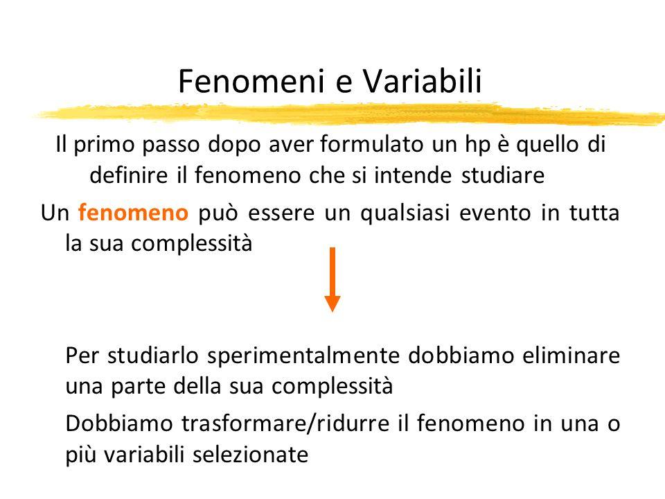 Fenomeni e Variabili Il primo passo dopo aver formulato un hp è quello di definire il fenomeno che si intende studiare.