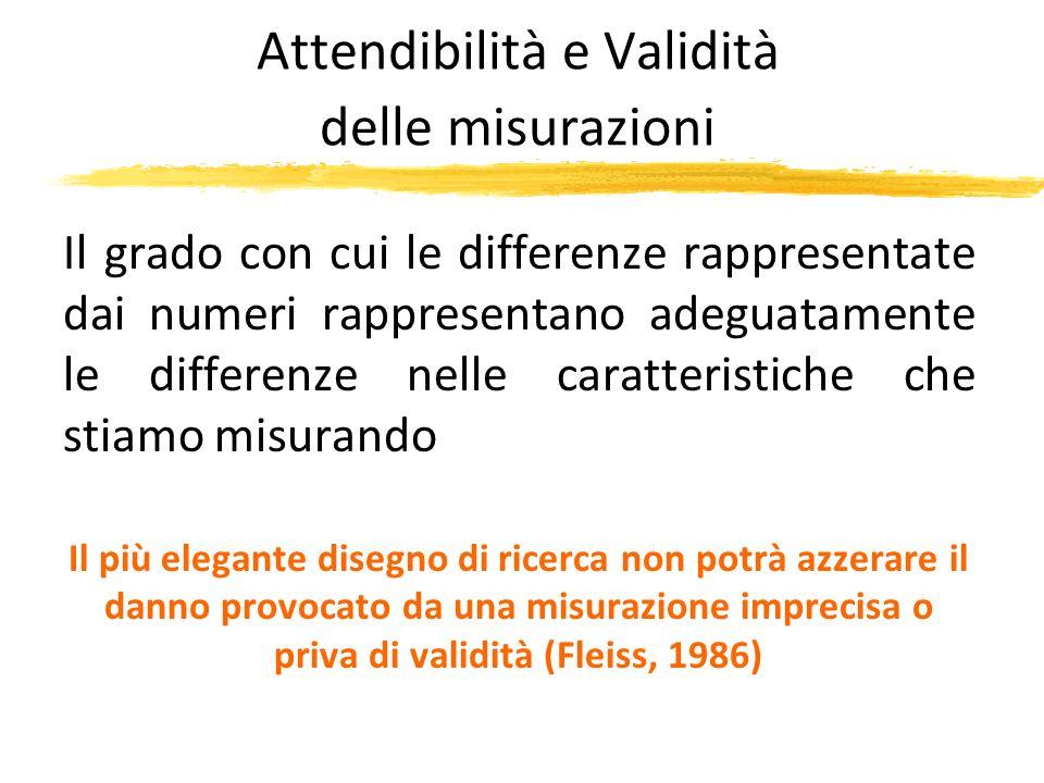 Attendibilità e Validità delle misurazioni