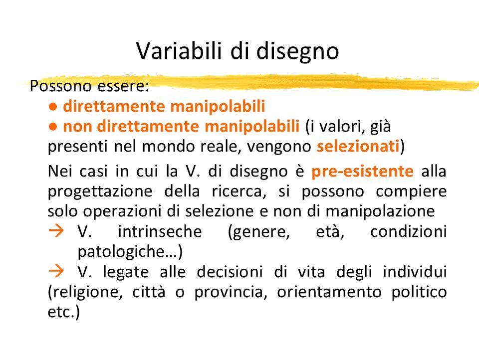 Variabili di disegno Possono essere: ● direttamente manipolabili