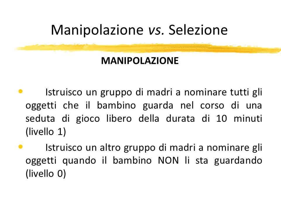 Manipolazione vs. Selezione