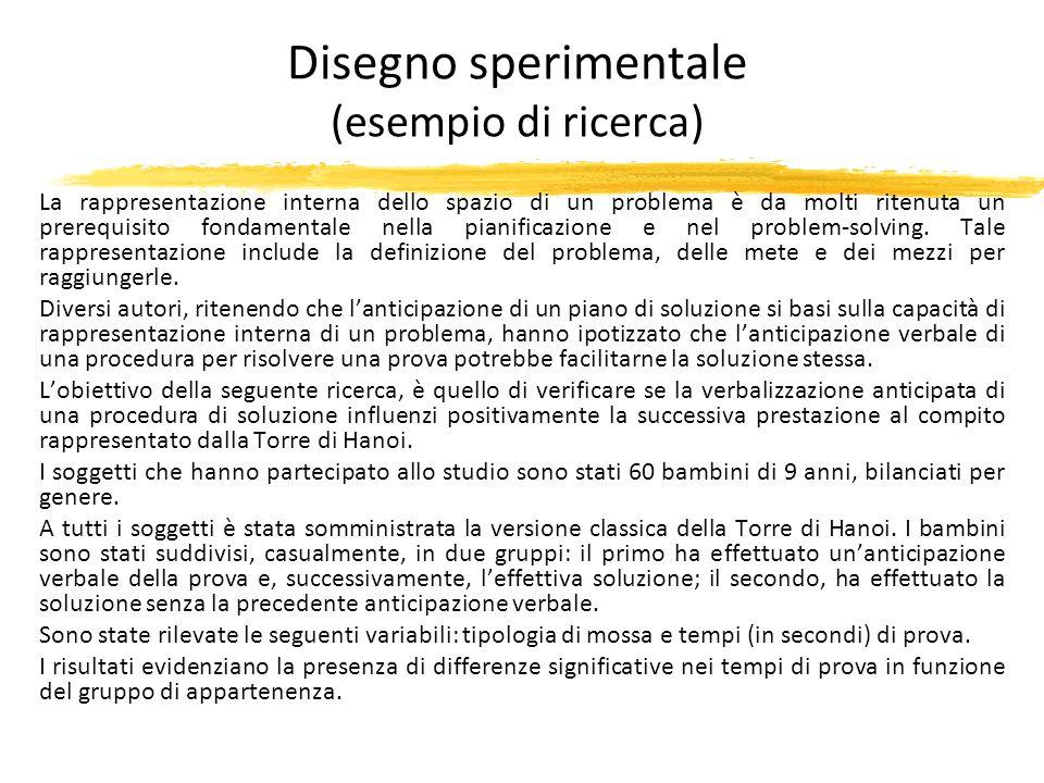 Disegno sperimentale (esempio di ricerca)