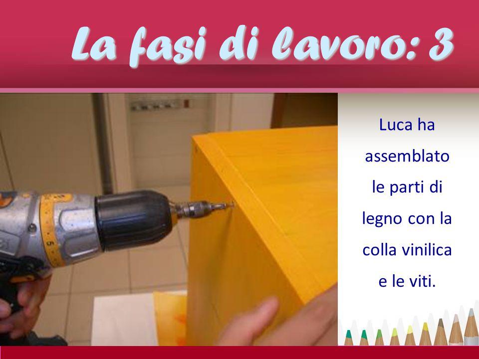 Luca ha assemblato le parti di legno con la colla vinilica e le viti.