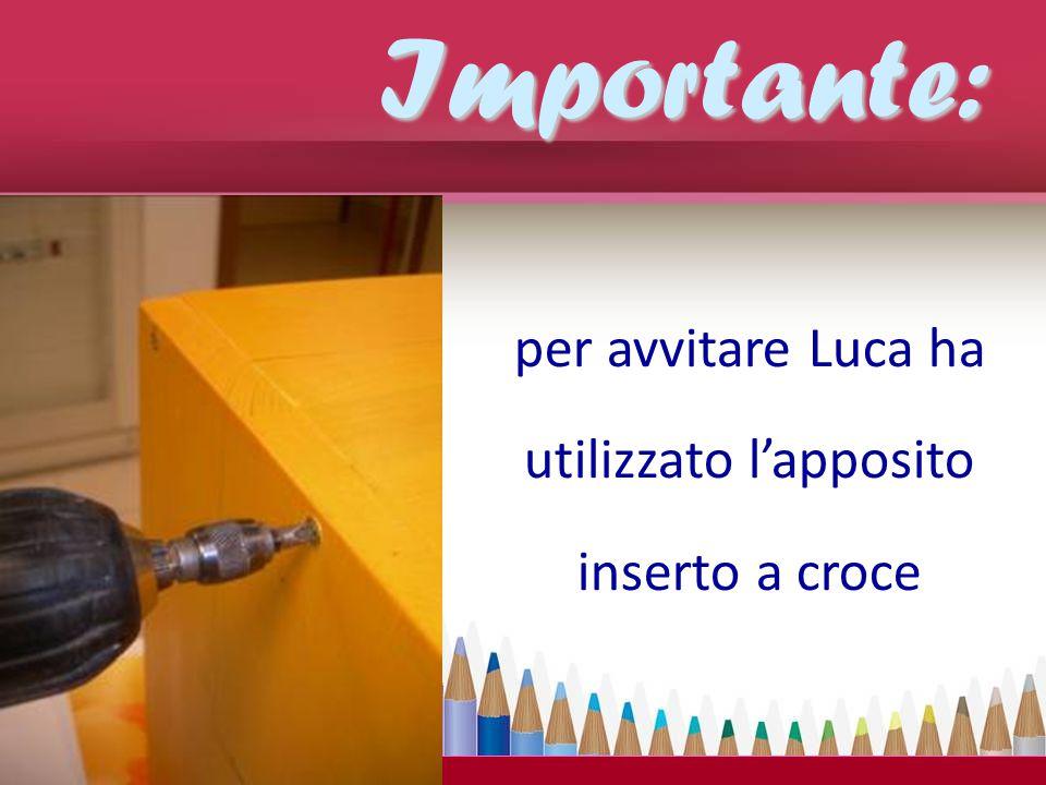 per avvitare Luca ha utilizzato l'apposito inserto a croce