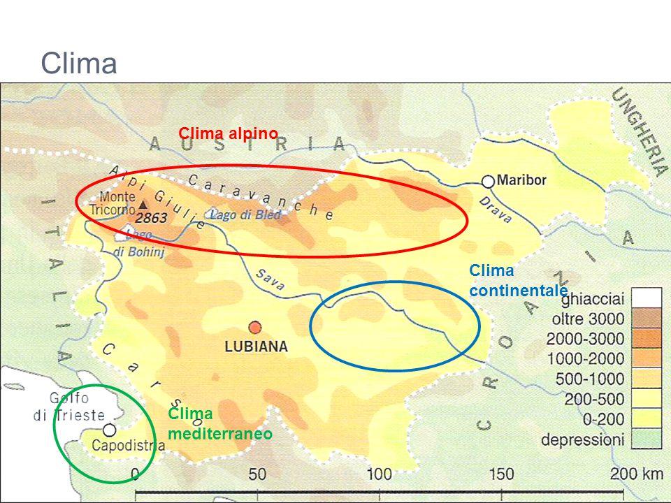 Clima Clima alpino Clima continentale Clima mediterraneo