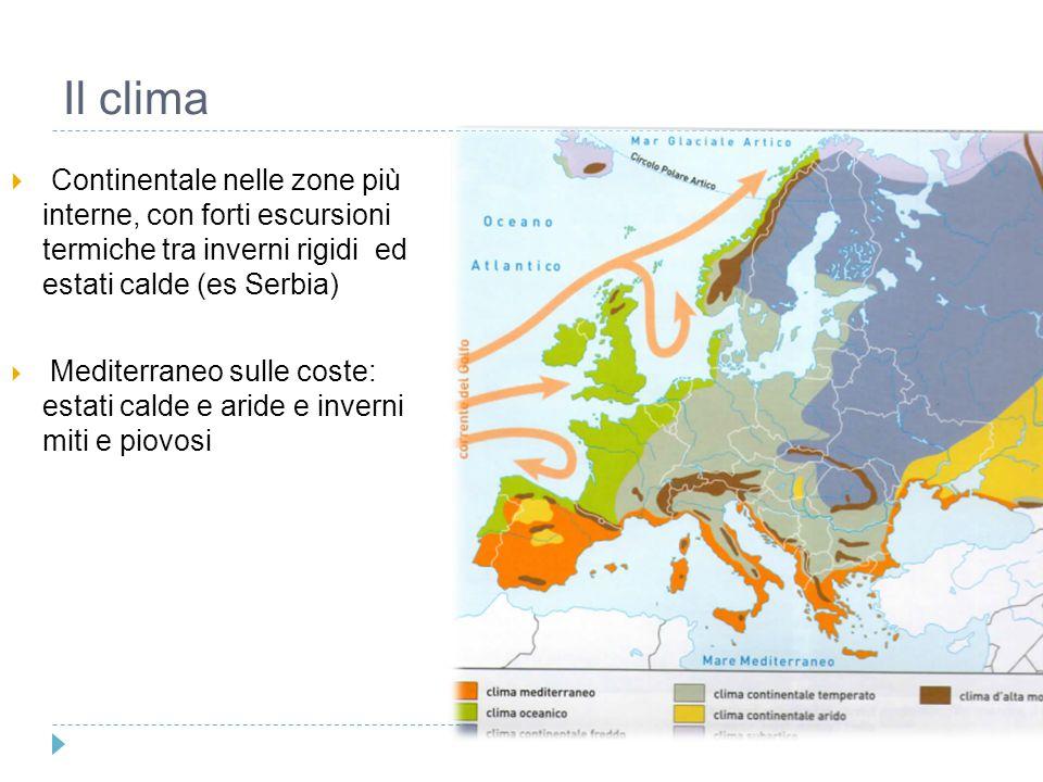 Il clima Continentale nelle zone più interne, con forti escursioni termiche tra inverni rigidi ed estati calde (es Serbia)