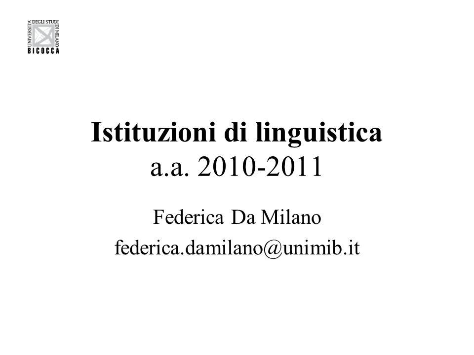 Istituzioni di linguistica a.a. 2010-2011