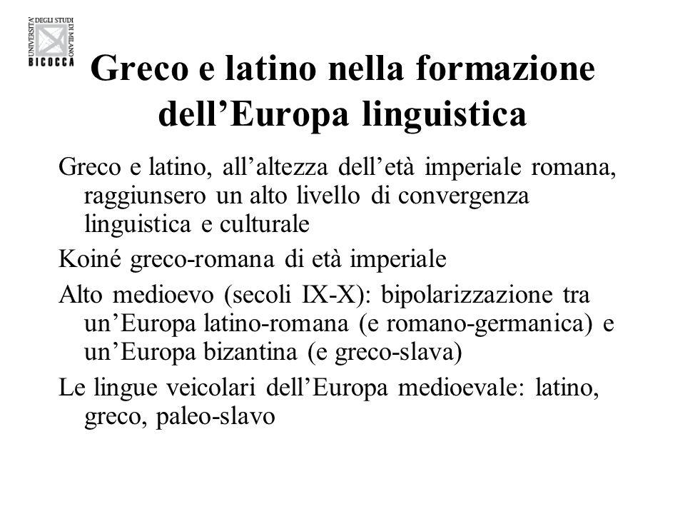 Greco e latino nella formazione dell'Europa linguistica