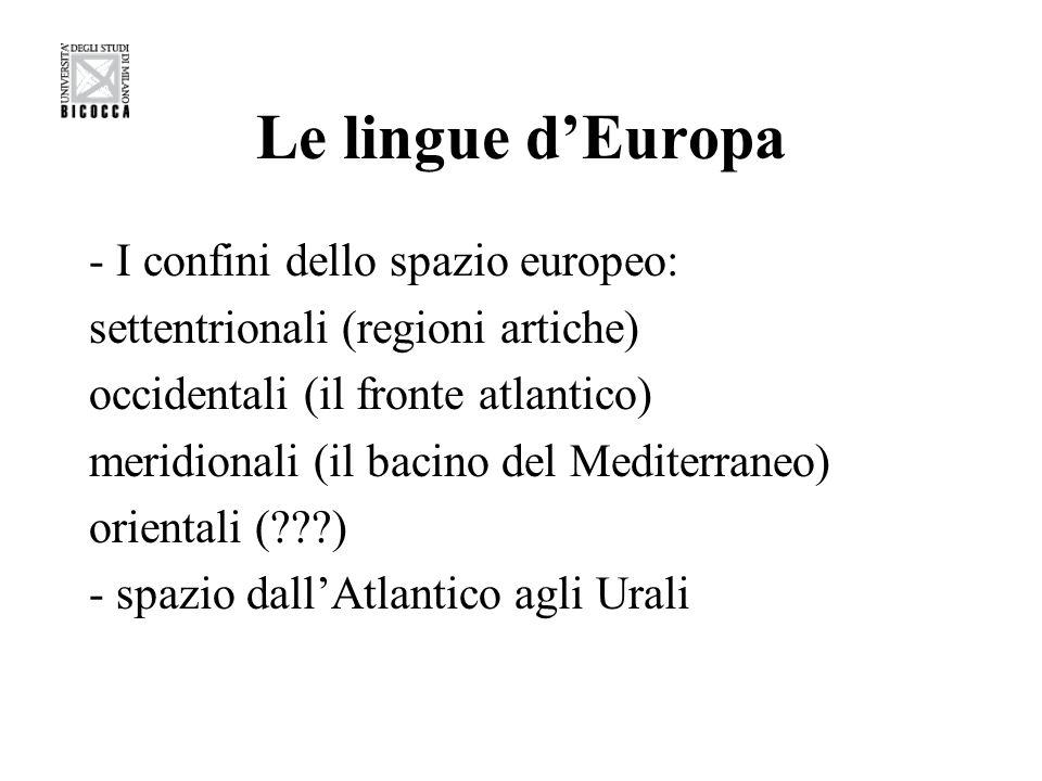 Le lingue d'Europa - I confini dello spazio europeo:
