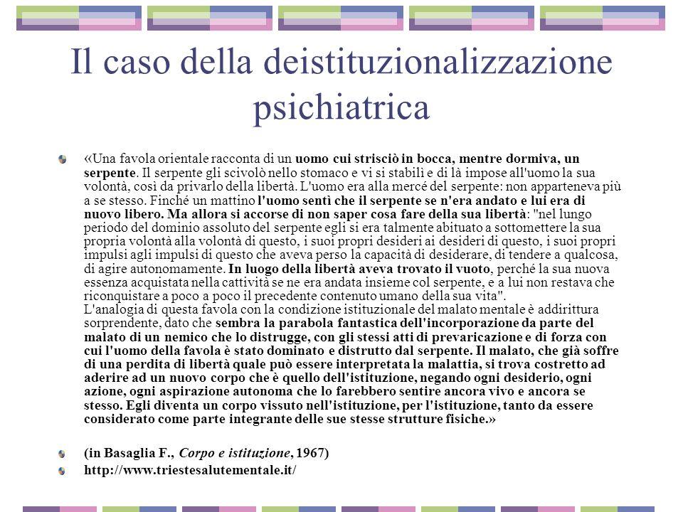 Il caso della deistituzionalizzazione psichiatrica