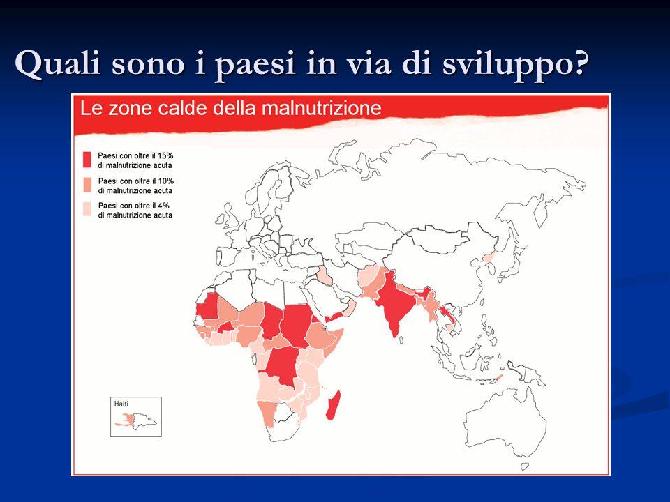 Quali sono i paesi in via di sviluppo