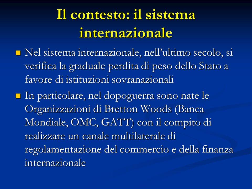 Il contesto: il sistema internazionale