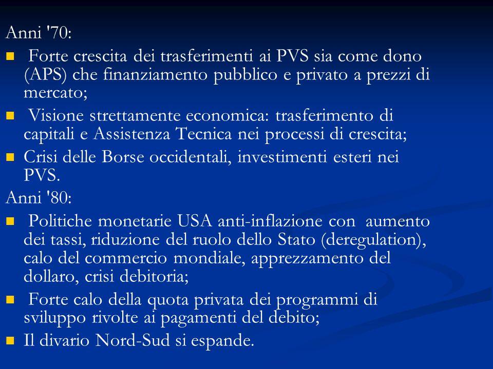 Anni 70: Forte crescita dei trasferimenti ai PVS sia come dono (APS) che finanziamento pubblico e privato a prezzi di mercato;