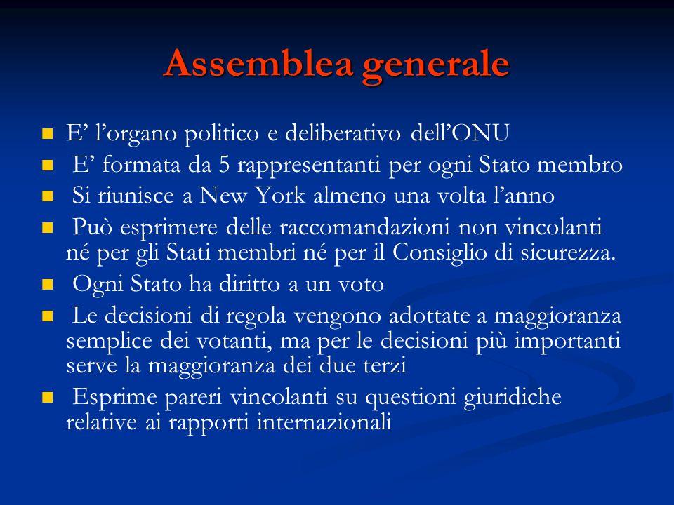 Assemblea generale E' l'organo politico e deliberativo dell'ONU