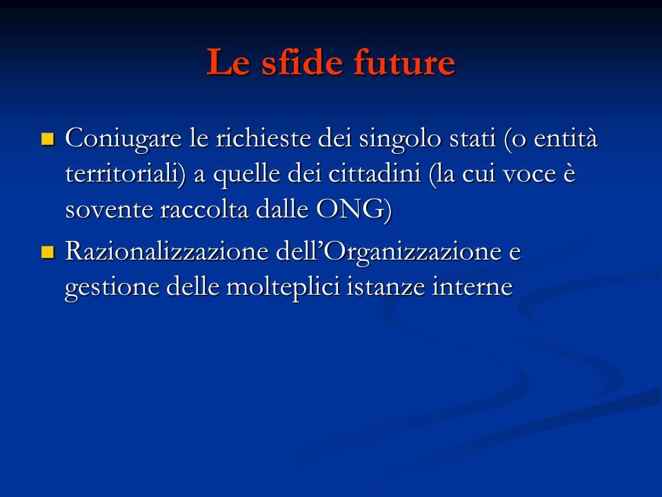 Le sfide future Coniugare le richieste dei singolo stati (o entità territoriali) a quelle dei cittadini (la cui voce è sovente raccolta dalle ONG)