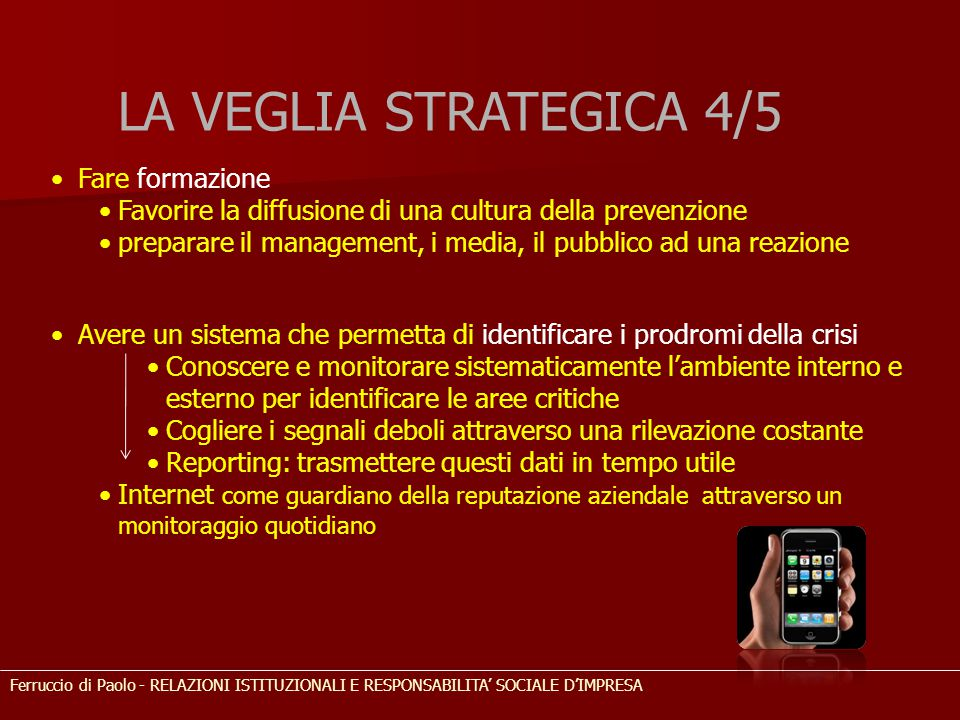 LA VEGLIA STRATEGICA 4/5 Fare formazione