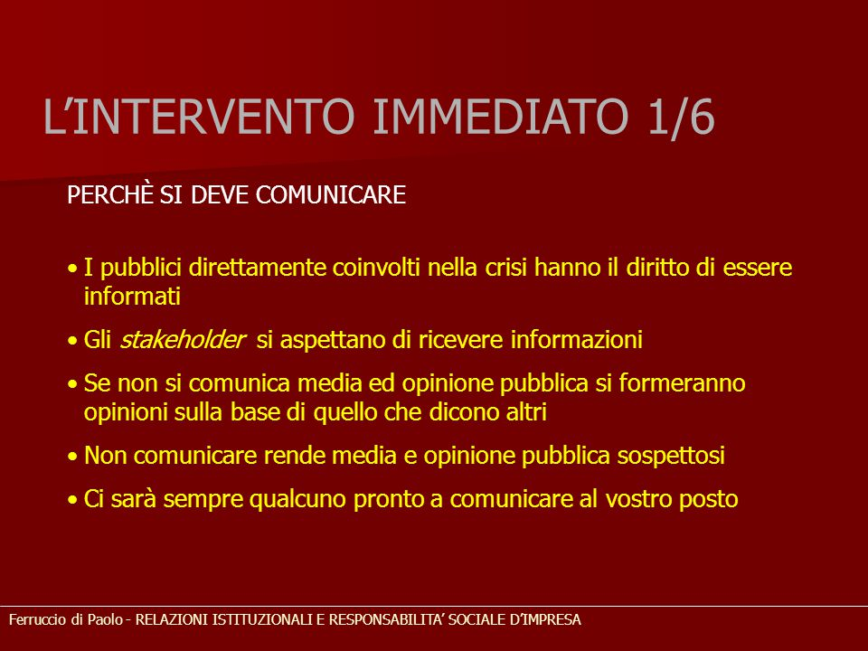 L'INTERVENTO IMMEDIATO 1/6