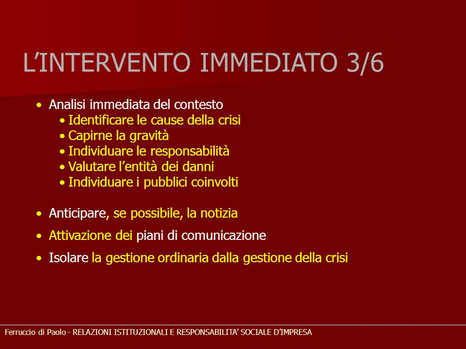 L'INTERVENTO IMMEDIATO 3/6
