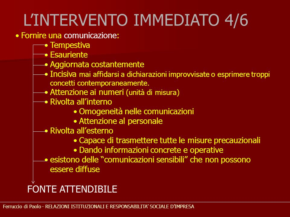L'INTERVENTO IMMEDIATO 4/6