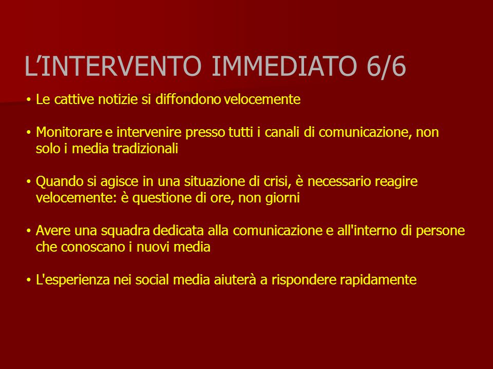 L'INTERVENTO IMMEDIATO 6/6