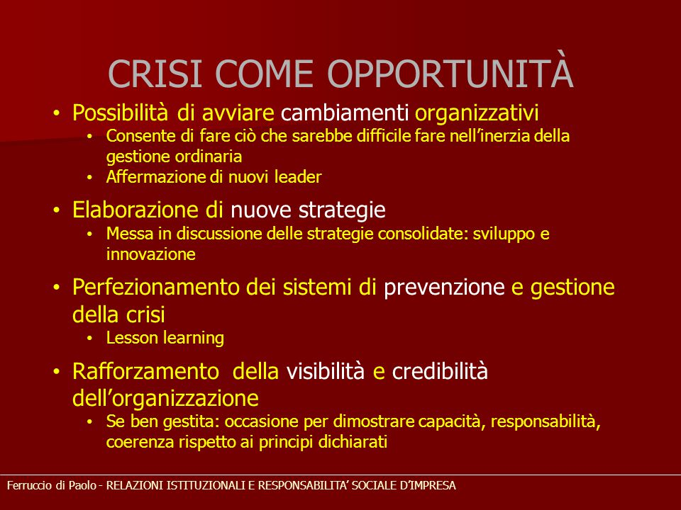 CRISI COME OPPORTUNITÀ