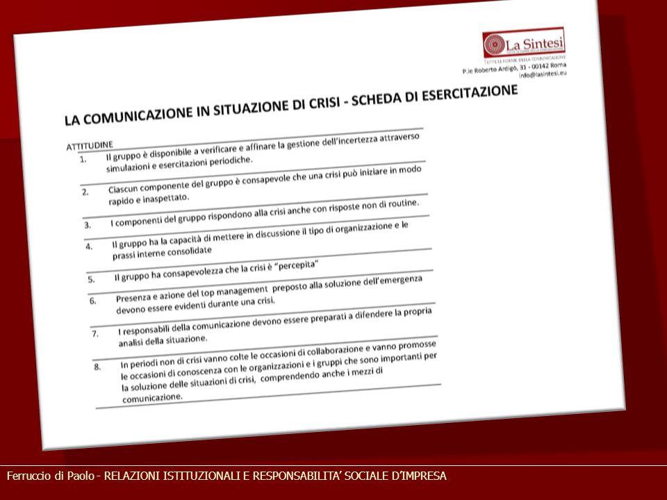 Ferruccio di Paolo - RELAZIONI ISTITUZIONALI E RESPONSABILITA' SOCIALE D'IMPRESA