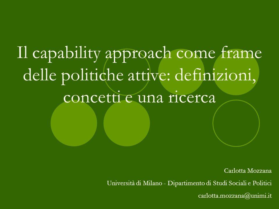 Il capability approach come frame delle politiche attive: definizioni, concetti e una ricerca