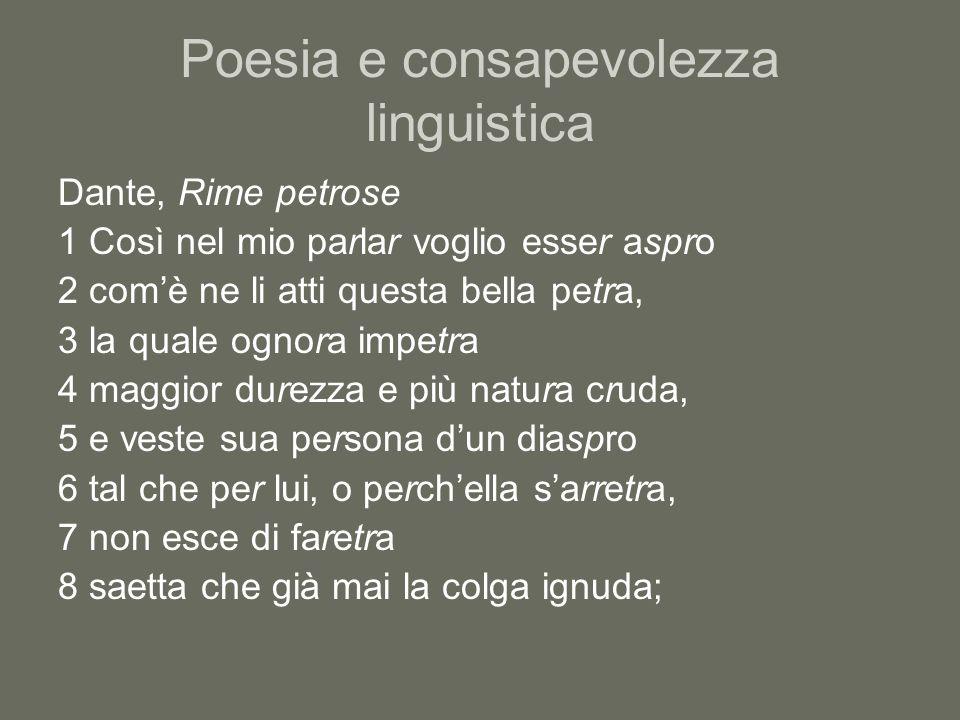 Poesia e consapevolezza linguistica