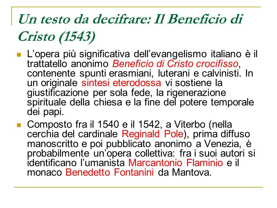 Un testo da decifrare: Il Beneficio di Cristo (1543)