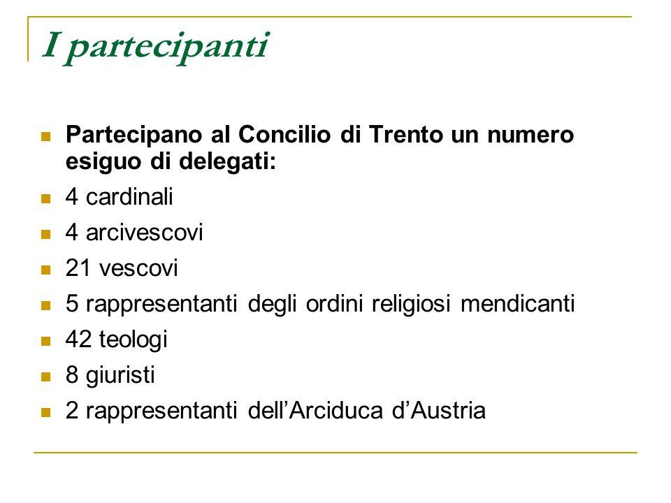 I partecipanti Partecipano al Concilio di Trento un numero esiguo di delegati: 4 cardinali. 4 arcivescovi.