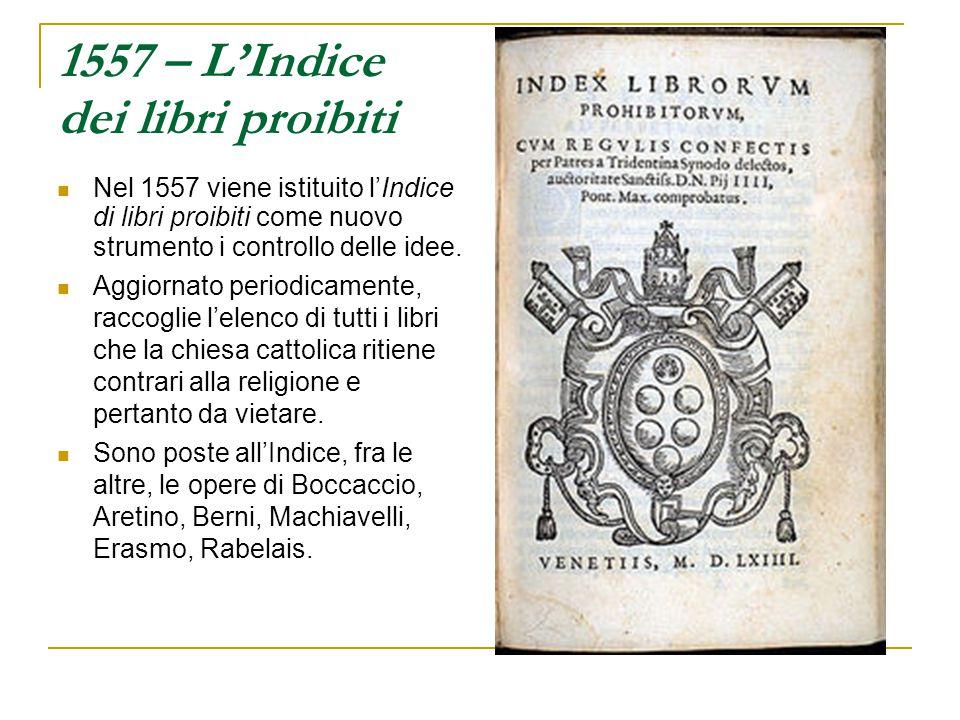 1557 – L'Indice dei libri proibiti