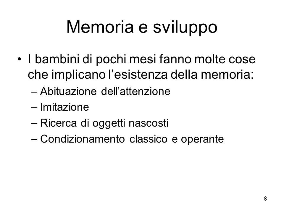Memoria e sviluppo I bambini di pochi mesi fanno molte cose che implicano l'esistenza della memoria: