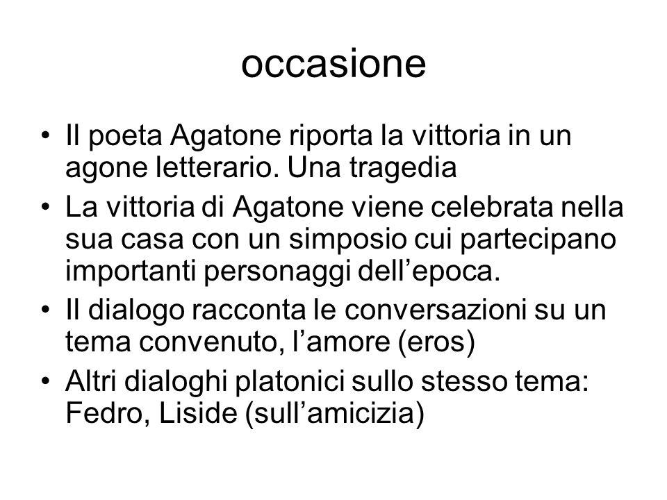 occasione Il poeta Agatone riporta la vittoria in un agone letterario. Una tragedia.