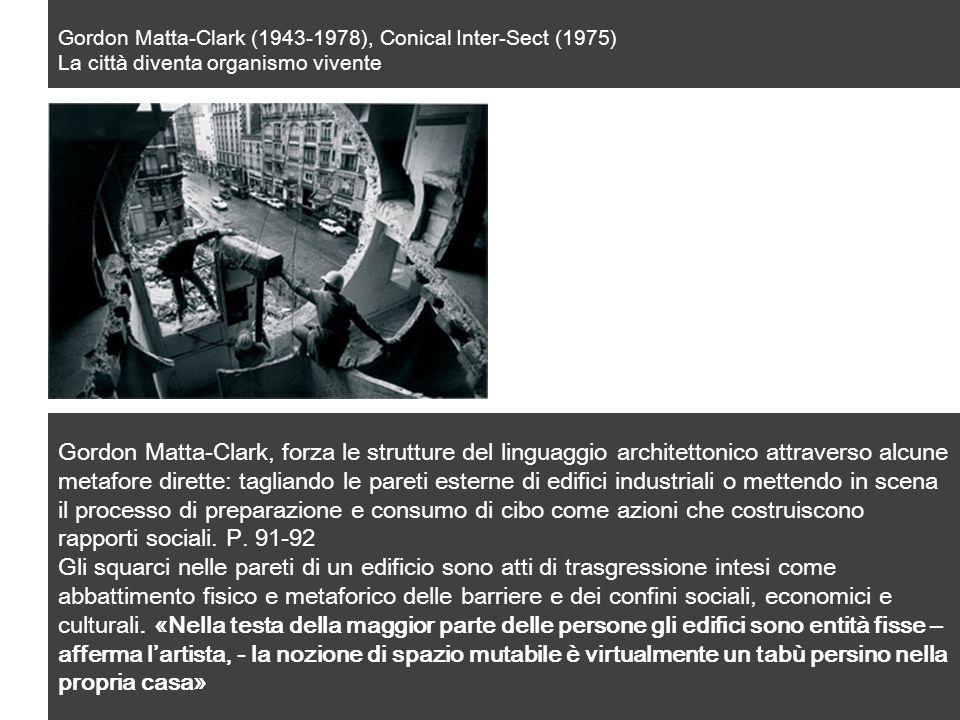 Gordon Matta-Clark (1943-1978), Conical Inter-Sect (1975) La città diventa organismo vivente