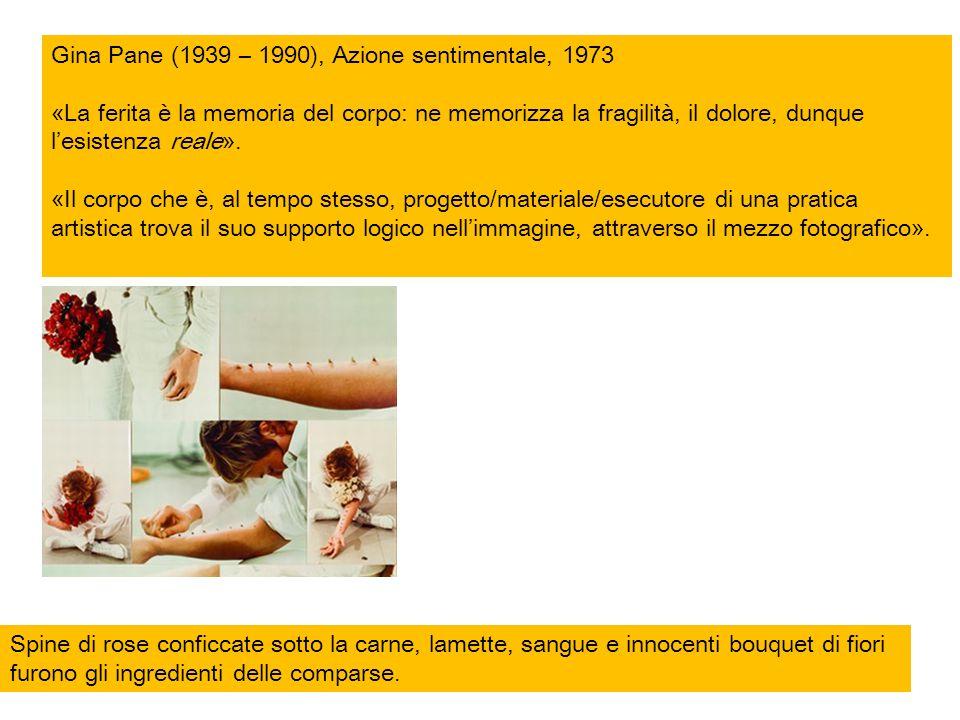 Gina Pane (1939 – 1990), Azione sentimentale, 1973