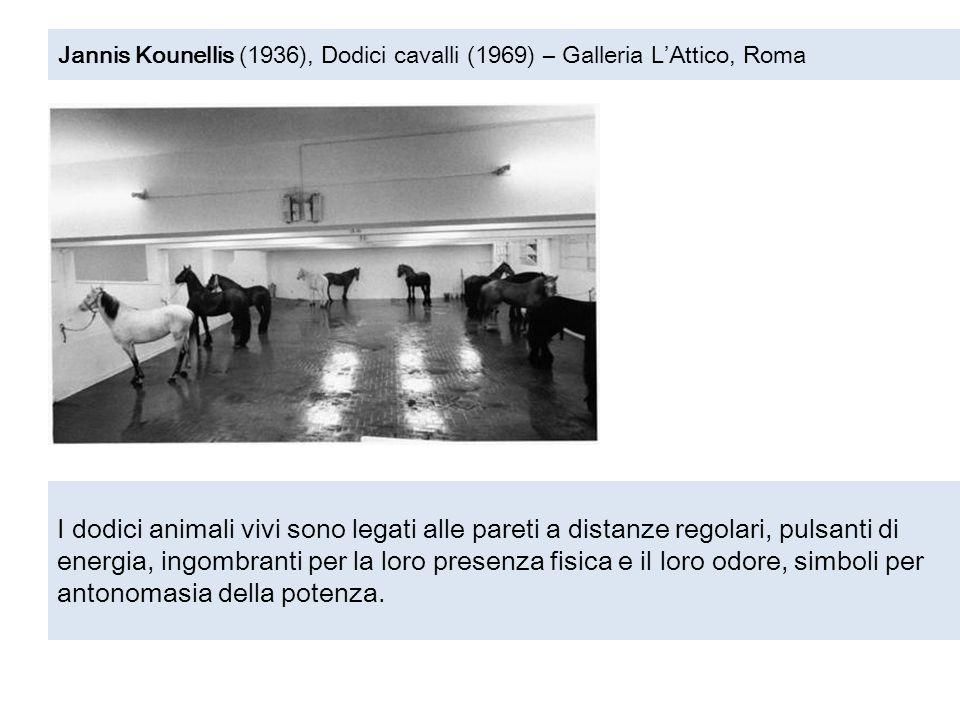 Jannis Kounellis (1936), Dodici cavalli (1969) – Galleria L'Attico, Roma