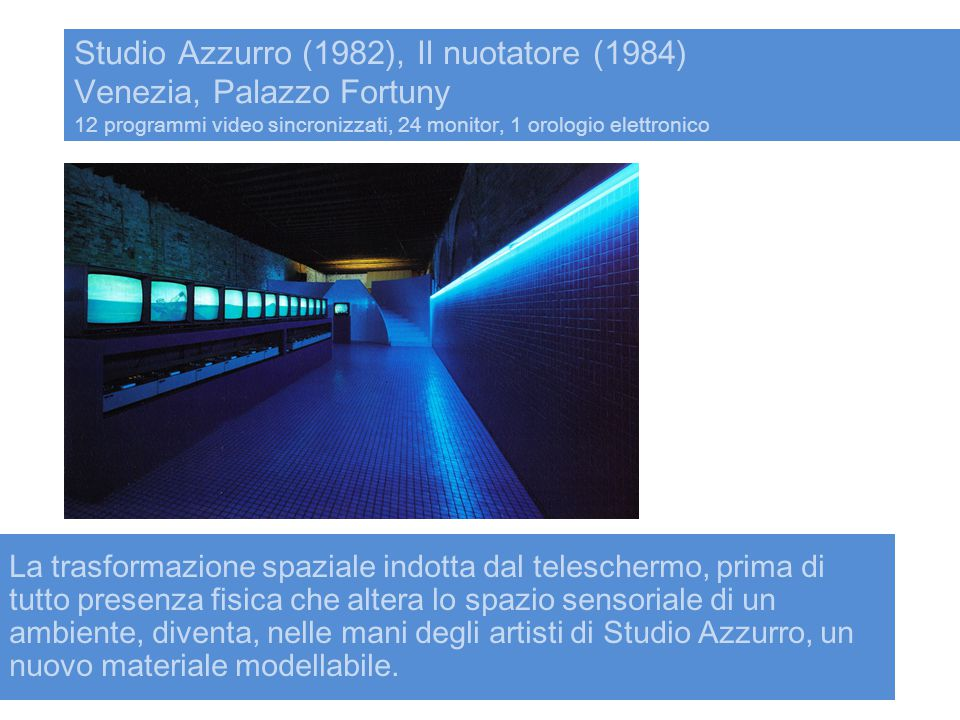 Studio Azzurro (1982), Il nuotatore (1984) Venezia, Palazzo Fortuny 12 programmi video sincronizzati, 24 monitor, 1 orologio elettronico