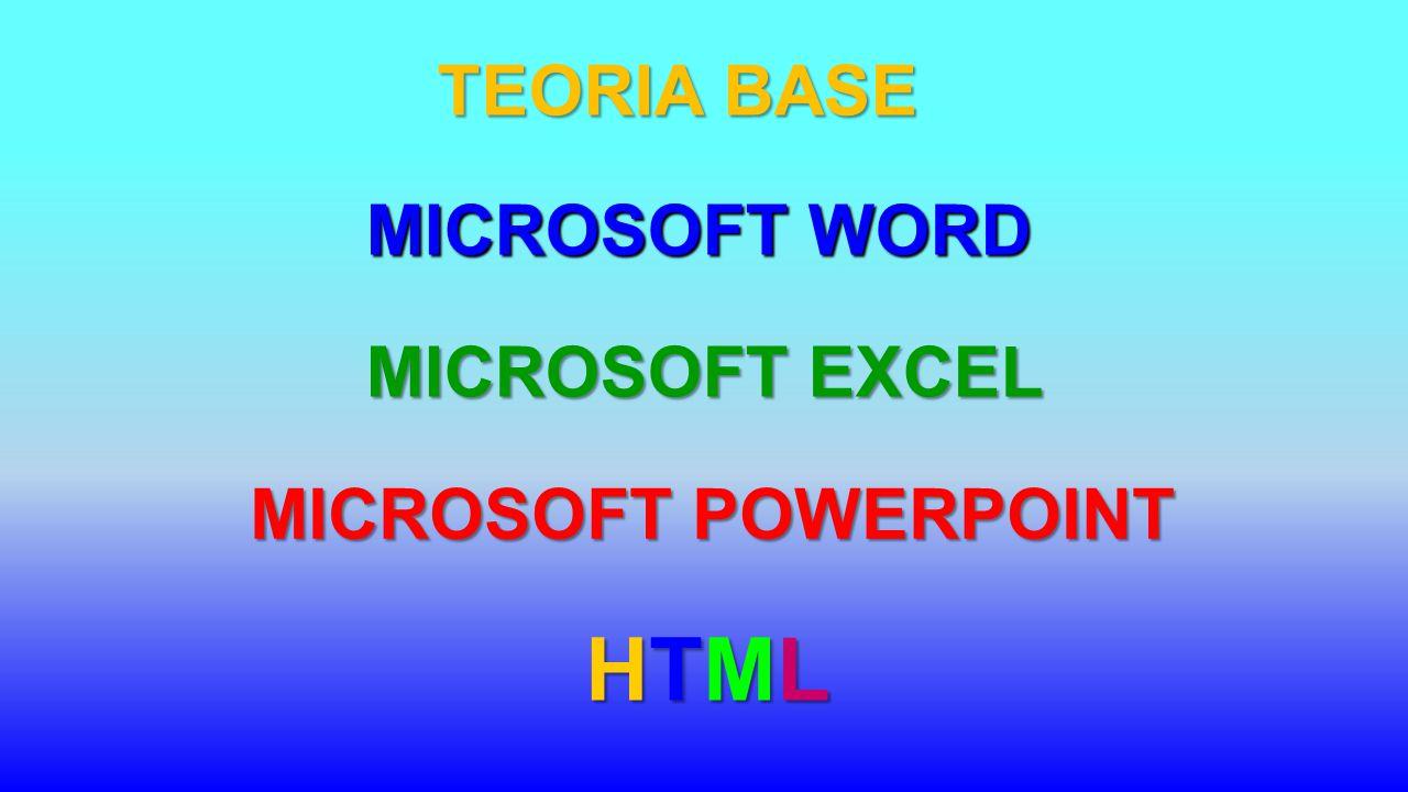 TEORIA BASE MICROSOFT WORD MICROSOFT EXCEL MICROSOFT POWERPOINT HTML