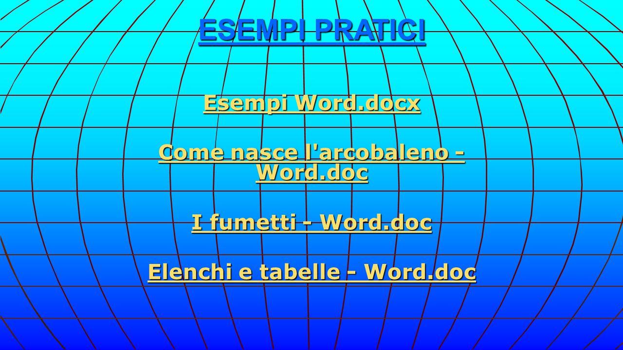 Come nasce l arcobaleno - Word.doc Elenchi e tabelle - Word.doc