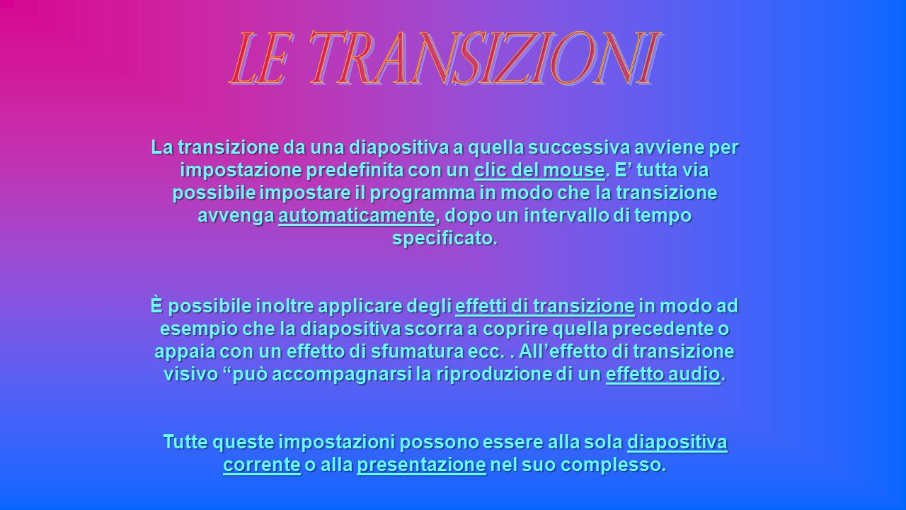 Le transizioni