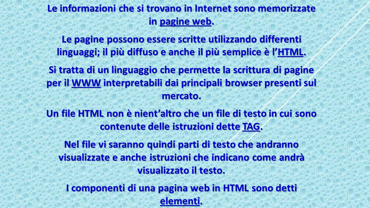 I componenti di una pagina web in HTML sono detti elementi.